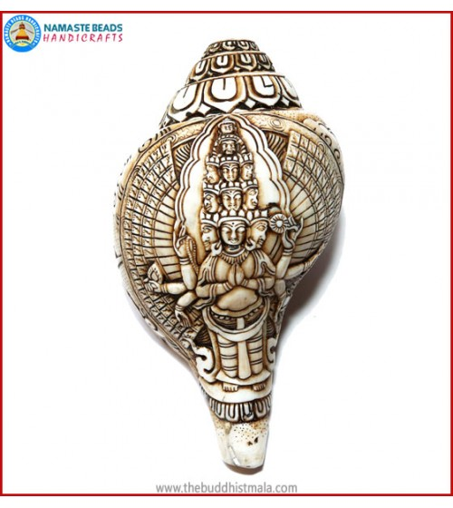 """Avalokiteshvara Budhha"" Carved Natural Conch Shell"