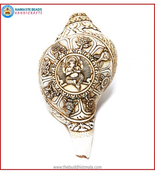"""Ganesha & 8 Auspicious Symbol"" Natural Conch Shell"