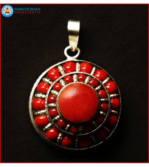 White Metal & Coral Beaded Round Ghau