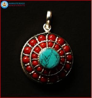 Turquoise & Coral Beaded White Metal Ghau