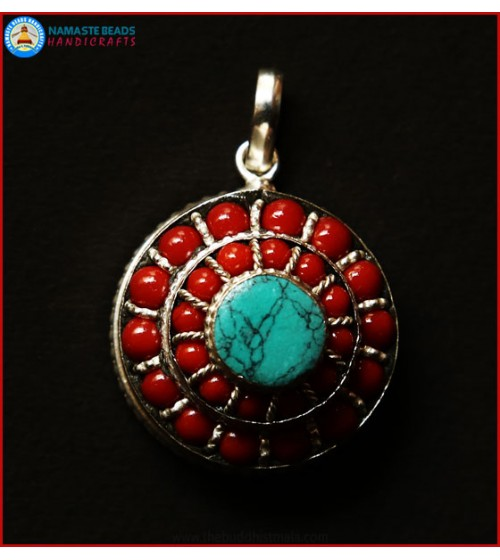 Turquoise & Coral Beaded White Metal Ghau