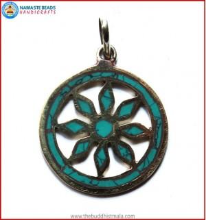 Turquoise & Brass Round Pendant