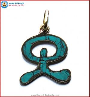 Turquoise & Brass Pendant