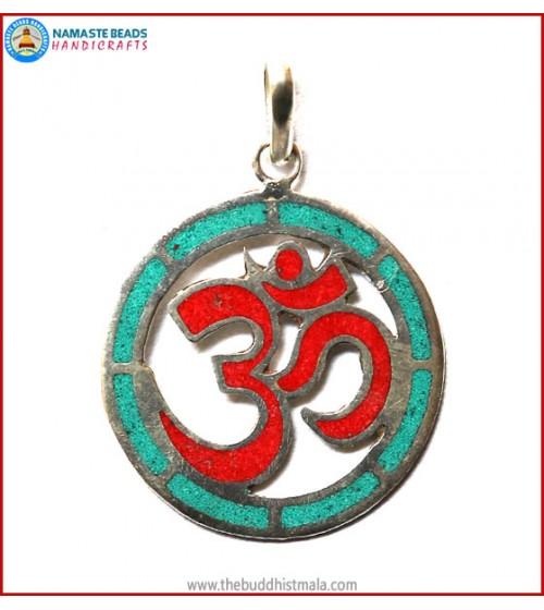 """Hindu OM"" Design White Metal Round Pendant"