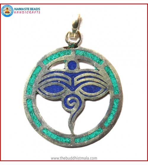 """Buddha-Eye"" Design White Metal Pendant"