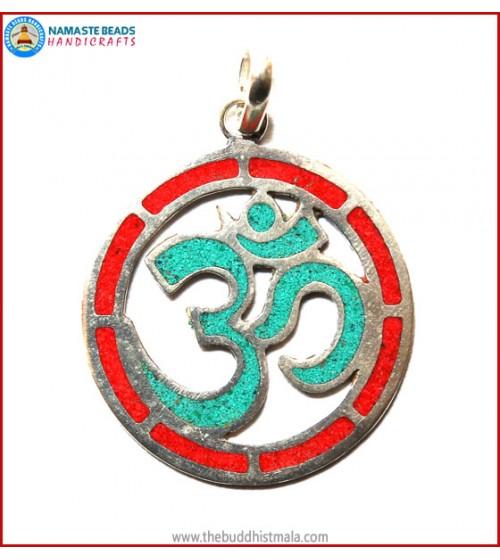 """Hindu OM"" White Metal  Round Pendant"