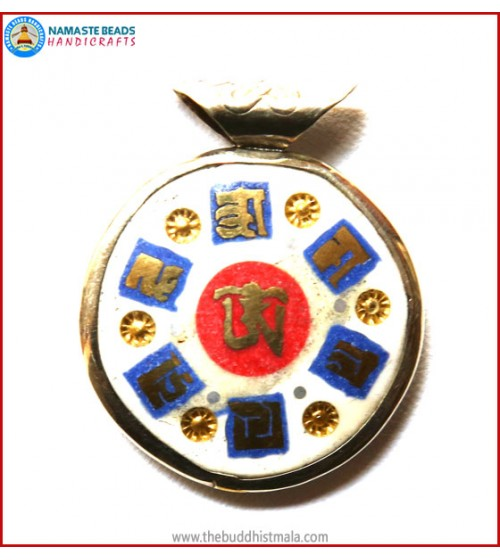"""Mantra"" & ""Tibetan OM"" Symbol Bone Pendant"