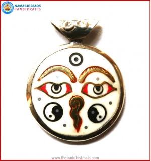 """Buddha-Eye"" & ""Ying Yang"" Symbol Bone Pendant"