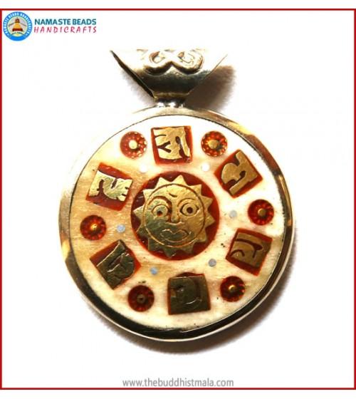 """Mantra"" & ""Sun"" Symbol Bone Pendant"