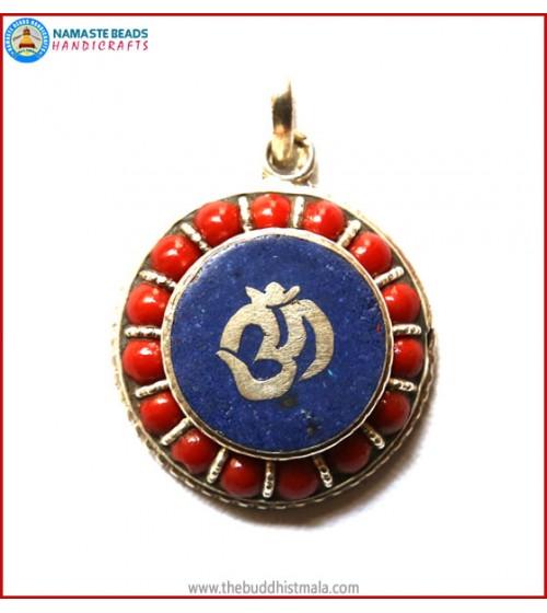 """OM"" Symbol White Metal Pendant"