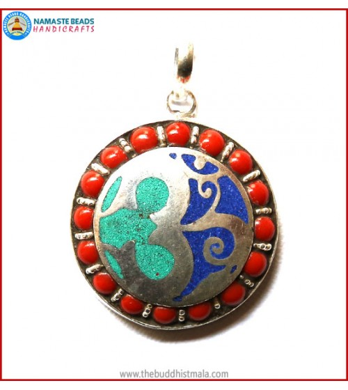 """OM"" Carved White Metal Pendant"