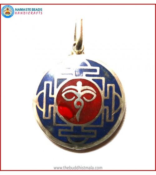 """""""Buddha-Eye"""" Symbol White Metal Pendant"""