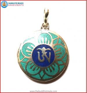 """Tibetan OM"" Symbol White Metal Pendant"