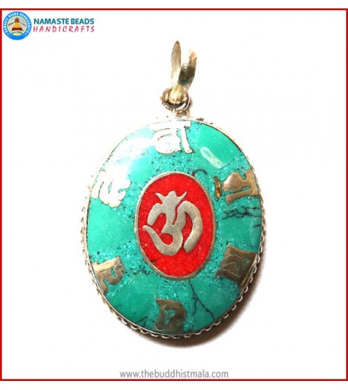 """Mantra"" & ""OM"" Symbol White Metal Pendant"