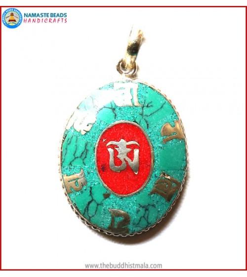 """Tibetan OM"" & ""Mantra"" Symbol White Metal Pendant"