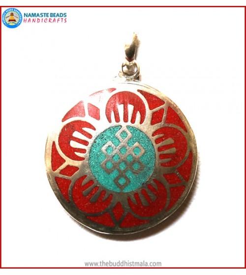 """""""Kalachakra"""" Symbol White Metal Pendant"""