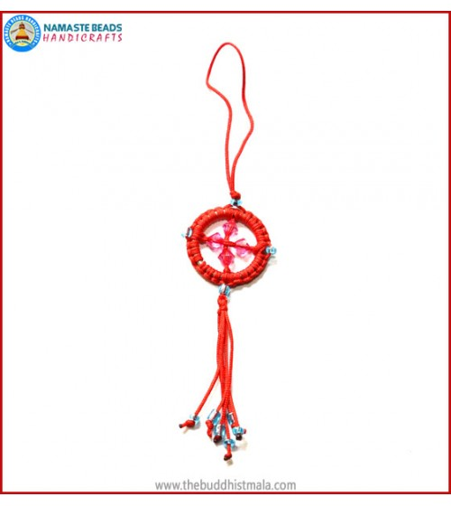 Red String Dharma Wheel Key Ring