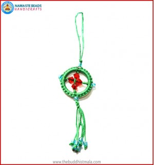 Green String Dharma Wheel Key Ring