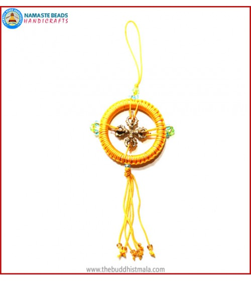 Brass Dorje String Dharma Wheel