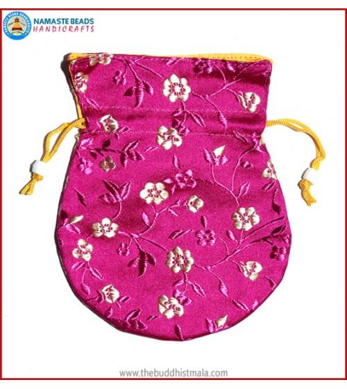 Purple Color Silk Mala Bag