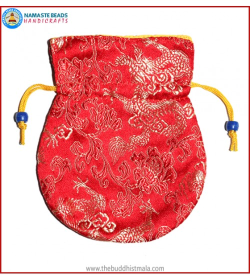 Red Color Silk Mala Bag