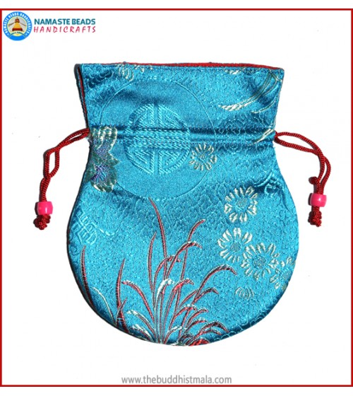 Sky Blue Color Silk Mala Bag