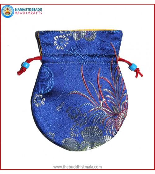 Blue Color Silk Mala Bag