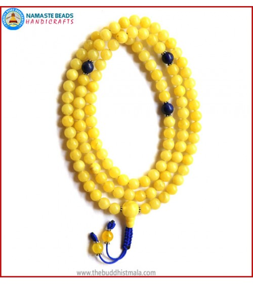 Amber Mala with Lapis Lazuli Spacer Beads
