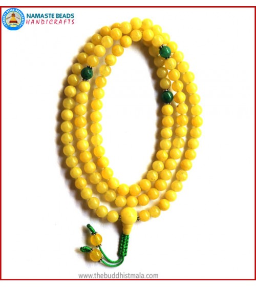 Yellow Amber Mala with Green Jade Spacer Beads