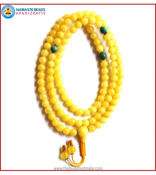 Yellow Amber Mala with Turquoise Spacer Beads