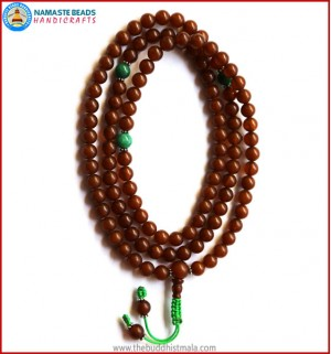 Amber Mala with Green Jade Spacer Beads