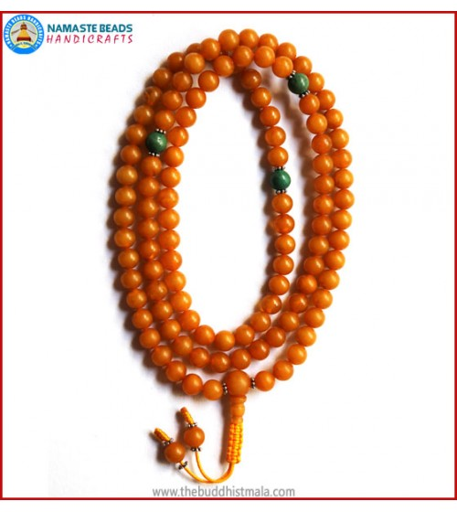 Honey Amber Mala with Turquoise Spacer Beads
