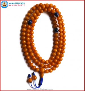 Honey Amber Mala with Lapis Lazuli Spacer Beads