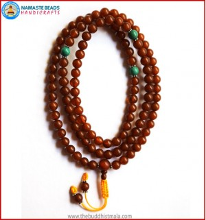 Brown Amber Mala with Turquoise Spacer Beads