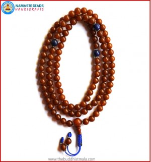 Brown Amber Mala with Lapis Lazuli Spacer Beads