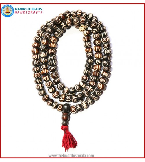 """EYE"" Carved Bone Mala"