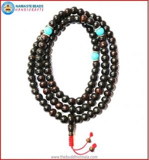Black Bone Mala with Turquoise Beads