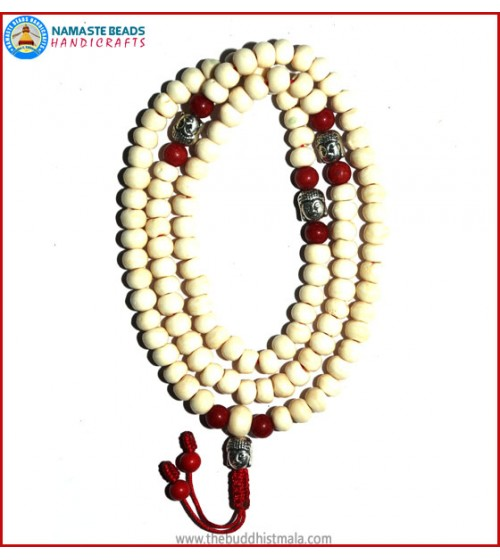 White Bone Mala with Buddha Head