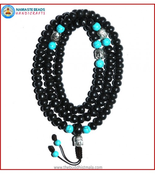 Black Bone Mala with Buddha Head