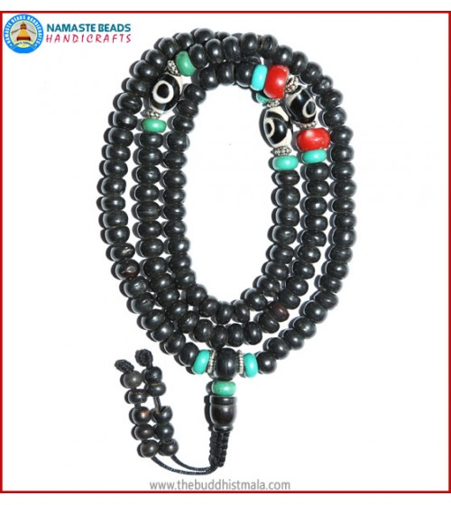 Black Bone Mala with Dzi Beads