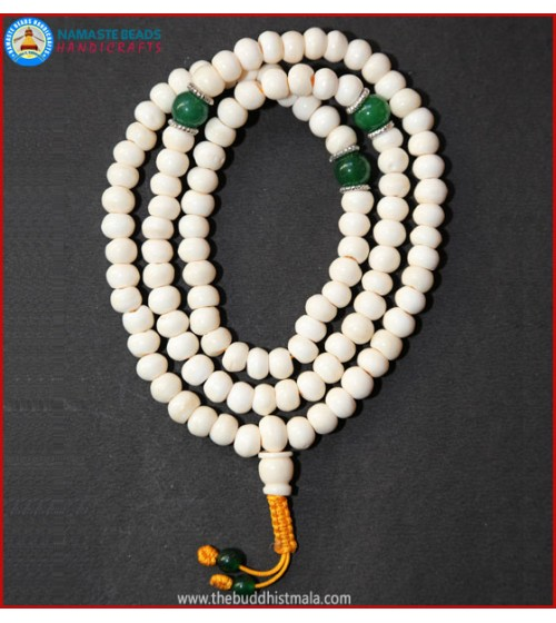 White Bone Mala with Green Jade Spacer Beads