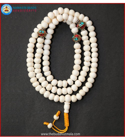 White Bone Mala with Inlays Metal Beads