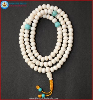 White Bone Mala with Turquoise Spacer Beads