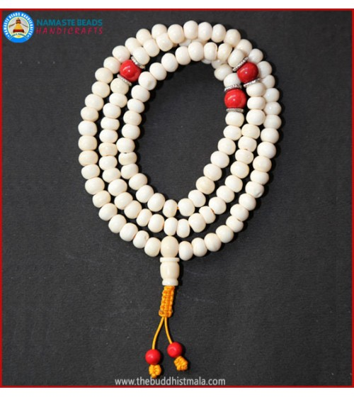 White Bone Mala with Coral Spacer Beads