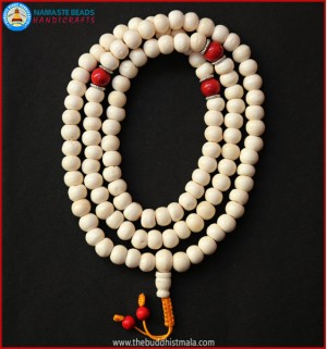 White Bone Mala with Coral Beads