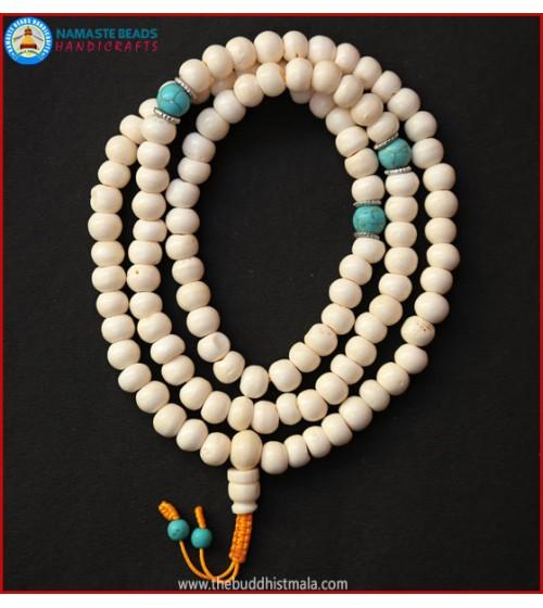 White Bone Mala with Turquoise Beads