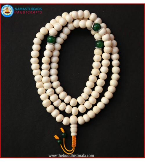 White Bone Mala with Green Jade Beads