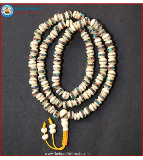 Inlays White Bone Mala