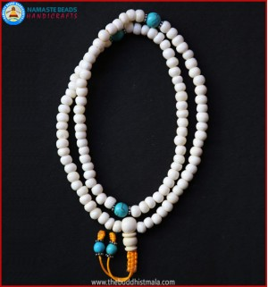 White Bone Mala with Turquoise Beads