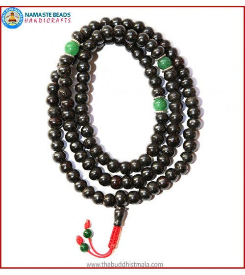 Black Bone Mala with Green Jade Spacer Beads